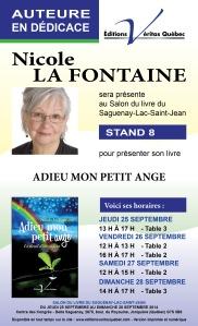 Dédicace SL Saguenay Nicole La Fontaine VQ